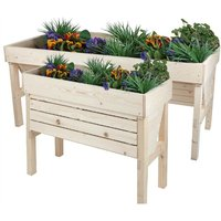 Small Raised Bed Wooden Vegetable Planter Timber Trough Box Outdoor Herb Garden