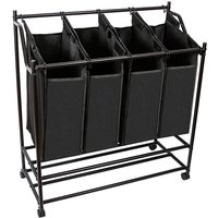 Laundry trolley 4 compartments laundry bin laundry bag clothes rail black laundry basket - MUCOLA