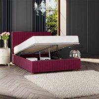 Estella Ottoman Storage Bed, Plush Velvet, Berry Single - Laurence Llewelyn-bowen