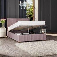 Estella Ottoman Storage Bed, Plush Velvet, Blush Single - Laurence Llewelyn-bowen
