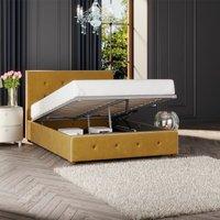 Hesper Ottoman Storage Bed, Plush Velvet, Ochre Single - Laurence Llewelyn-bowen