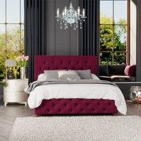Luna Ottoman Storage Bed, Plush Velvet, Berry Single - Laurence Llewelyn-bowen