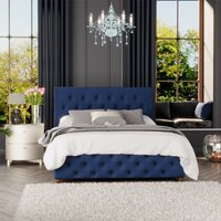 Luna Ottoman Storage Bed, Plush Velvet, Navy Single - Laurence Llewelyn-bowen