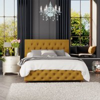 Luna Ottoman Storage Bed, Plush Velvet, Ochre Single - Laurence Llewelyn-bowen