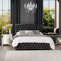 Seren Ottoman Storage Bed, Mirazzi Velvet, Black Single - Laurence Llewelyn-bowen