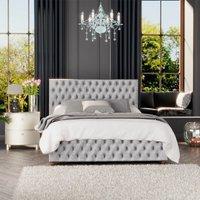 Seren Ottoman Storage Bed, Mirazzi Velvet, Silver Single - Laurence Llewelyn-bowen