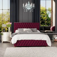 Seren Ottoman Storage Bed, Plush Velvet, Berry Single - Laurence Llewelyn-bowen