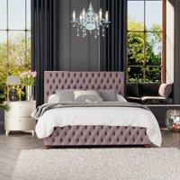 Seren Ottoman Storage Bed, Plush Velvet, Blush Single - Laurence Llewelyn-bowen