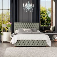 Seren Ottoman Storage Bed, Plush Velvet, Duck Egg Single - Laurence Llewelyn-bowen