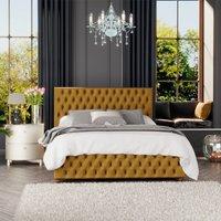 Seren Ottoman Storage Bed, Plush Velvet, Ochre Single - Laurence Llewelyn-bowen