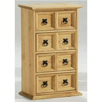 Netfurniture - Lauserine Solid Pine CD Storage Unit Chest Of Drawers 4 X 2 Brown waxed pine