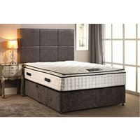 Bed Centre - Layla Quilted Pillow Top Silver Divan bed With 2 Drawer Same Side And Headboard Small Single