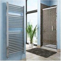 Lazzarini Roma Straight Carbon Steel Designer Heated Towel Rail Chrome 840mm x 600mm Electric Only - Standard