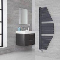 Lazzarini Way Spinnaker Carbon Steel Designer Towel Rail Anthracite 1460mm x 547mm