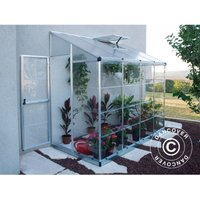 Dancover - Lean-to Greenhouse Polycarbonate, 3.05 m², 1.25x2.44x2.25 m, Silver