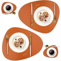 Leather Placemats and Coasters Set, Washable Round Table Mat, Waterproof Coffee Mats, Heat-Resistant Place Mat for Kitchen Dining Table (brown)