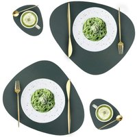 Briday - Leather Placemats and Coasters Set, Washable Round Table Mat, Waterproof Coffee Mats, Heat-Resistant Place Mat for Kitchen Dining Table