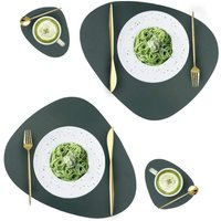 Leather Placemats and Coasters Set, Washable Round Table Mat, Waterproof Coffee Mats, Heat-Resistant Place Mat for Kitchen Dining Table (green)