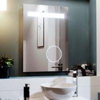 Neshome - LED 500 x 700mm Straight Corner Bathroom Magnifying Mirror