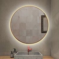 LED bathroom mirror with anti-fog warm white round touch light Ø 60 cm - OOBEST