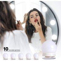 Bearsu - LED Dressing Table Mirror Light, Hollywood LED Light Kit Dimmable 10 Bulbs Adjustable Brightness 3 Colors 10 Brightness Levels LED Makeup