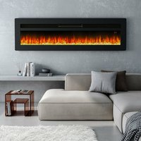 LED Electric Wall Fireplace 9 Flame Colours with Freestanding Leg, Black 50inch