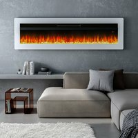 LED Electric Wall Fireplace 9 Flame Colours with Freestanding Leg, White 50inch