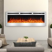 LED Electric Wall Mounted Fireplace Recessed Fire Heater 12 Flames With Remote, Silver 60inch