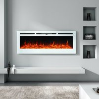 LED Electric Wall Mounted Fireplace Recessed Fire Heater 12 Flames With Remote, White 60inch