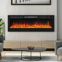 LED Electric Wall Mounted Fireplace Recessed Fire Heater 12 Flames With Remote, Black 60inch