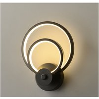 Led Indoor Wall Light Modern Black Round Art Wall Lamp for Bedroom Lounge Hallway Cafe Warm White