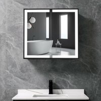 LED Light Up 2-Door Bathroom Mirror Cabinet 650(W)*600(H)*135(D)mm - LIVINGANDHOME