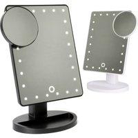 LED Light Up Illuminated Make Up Bathroom Mirror With Magnifier | Pukkr Black - Black