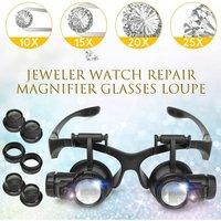 LED Lights Magnifier Glasses 10X 20X 25X 15X Binocular Lens Head Mounted Magnifier