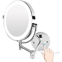 Perle Raregb - LED magnifying mirror, bright makeup mirror, magnification 3 times, double-face 360 ??° rotation, easy to install, silver (