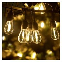 Briday - LED Outdoor String Lights, 51Ft Patio Lights Hanging for Garden Backyard Porch Lighting with 15+1 Commercial Grade Waterproof Plastic Edison