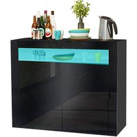 LED Sideboard Cabinet - Storage Cupboard unit with Matt Body and High Gloss Front for Dining Room Living Room (Black 2 Doors)