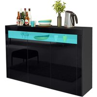Keepbuying - LED Sideboard Cabinet - Storage Cupboard unit with Matt Body and High Gloss Front for Dining Room Living Room (Black 3 Doors)