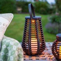 Briday - LED Solar Rattan Lampe Gartendeko 25cm
