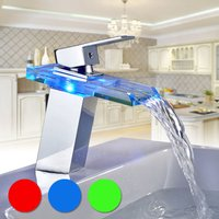 LED Waterfall Glass Basin Mixer Tap Single Handle Single Hole Bathroom Sink Faucet, 3 Colors Changing - AURALUM