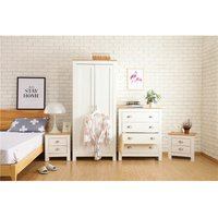 Ledbury Country Style 4 Piece Bedroom Furniture Set with 2 Door Wardrobe in White