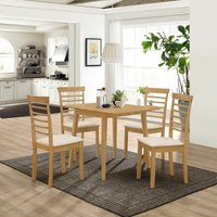 Ledbury Small Solid Wooden Drop Leaf Dining Table and 2 Chairs Set in Oak Finish Kitchen