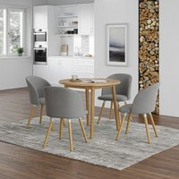Ledbury Small Solid Wooden Drop Leaf Round Dining Table in Oak Finish with 4 Fabric Chairs in Light Grey