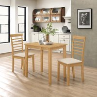 Ledbury Small Solid Wooden Dining/Kitchen Table and 2 Chairs Set in Oak Finish