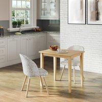 Ledbury Small Solid Wooden Dining/Kitchen Table in Oak Finish with 2 fabric chairs in Crushed Velvet