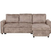Beliani - Left Hand Faux Leather Corner Sofa Bed with Storage Brown NESNA