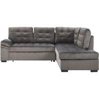 Beliani - Left Hand Velvet Corner Sofa Bed Grey VARNAMO