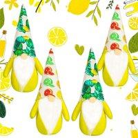 Lemon Gnome Scandinavian Tomte Nisse Swedish Fresh Lemon Elf Farmhouse Decor Summertime Rustic Doll Decorations (4 Pieces)