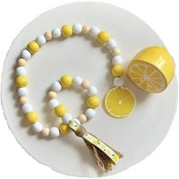 Briday - Lemon Wood Bead Garland, Yellow Farmhouse Rustic Beads with Jute Tassel, Lemonade Slice Summer Home Natural Country Chic Décor for Coffee