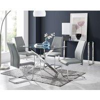 Leonardo Glass And Chrome Metal Dining Table And 4 Elephant Grey Lorenzo Dining Chairs